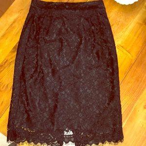 NWOT - J.Crew Black Lace Pencil Skirt - Size 6